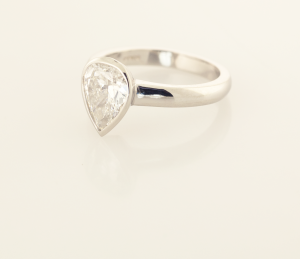 Platinum and 1.50ct. pear shape diamond