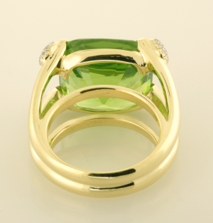 28ct. cushion cut peridot ring with diamond pavé accents back view