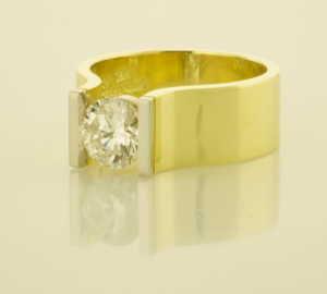 DIamond Contemporary Solitaire Ring with 1.00t. Diamond .75 view