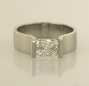 14KT white gold ring with 1.01ct. radiant cut diamond