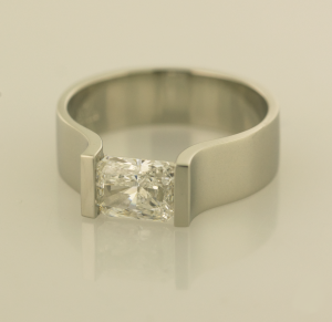 14KT white gold ring with 1.01ct. radiant cut diamond side view