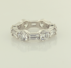 Platinum, Round and Baguette eternity band set 3.60ct. rounds 1.87ct. baguettes