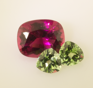 Rubellite Tourmaline and Apple Green Tourmalines before setting