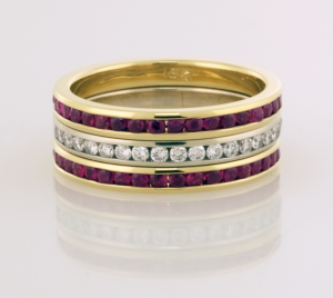 Eternity Bands One Diamond and two in Ruby