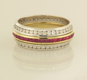 Ruby Eternity Band with Diamond Eternity Band Wings
