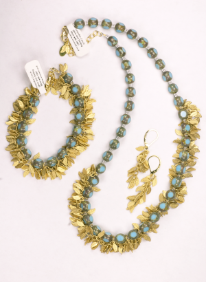 Blue Czech glass beads with 18KT yellow gold vermiel on sterling silver, Necklace, bracelet and earrings