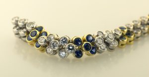 Diamond and Sapphire Flexible Bracelet  Close Up