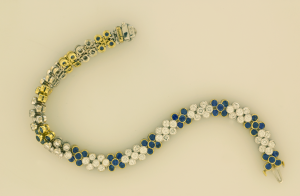 Diamond and Sapphire Flexible Bracelet Front and Back