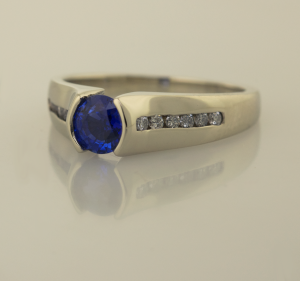 Sapphire Modern Solitaire with Diamnd Accents