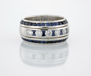 Diamond and Sapphire ring with sapphire beveled eternity bands