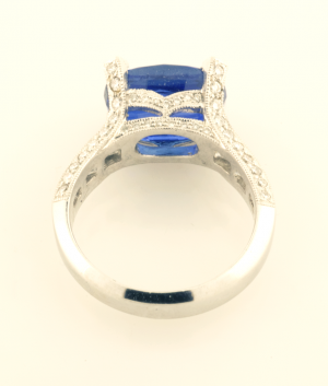 Sapphire 5.71ct., diamond .51ct in Platinum Back View
