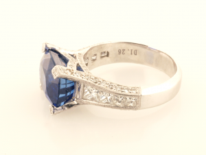 Sapphire 5.71ct., diamond .51ct in Platinum Side View