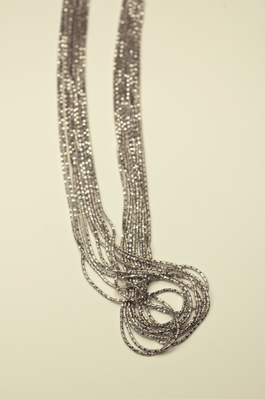 18KT White Gold Vermeil on Sterling 10 Strand Chain Necklace