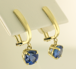 Tanzanite Drop earrings in 14KT yellow gold 3.67cts. TW