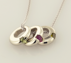 14KT white gold pendant with three birthstones on a chain
