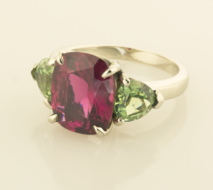 Three Stone Ring with Red and Green Tourmalines side view