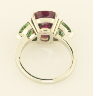 Three Stone Ring with Red and Green Tourmalines back view