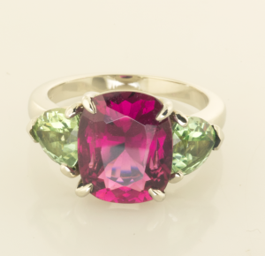 Three Stone Ring with Red and Green Tourmalines