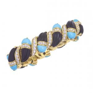Turquoise, onyx and diamond cuff bracelet
