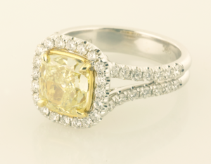 Yellow Diamond Ring with Surround White Diamond Accents