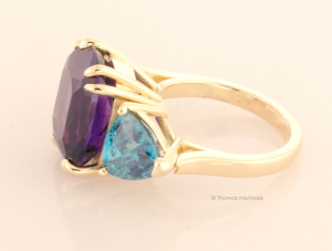 Three Stone Ring with Amethyst and Blue Zircon Side View
