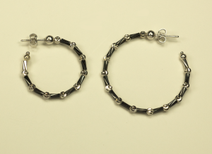 Black Rhodium Vermeil on Sterling Bamboo Motif and 18KT white gold vermeil on Sterling silver bead earrings