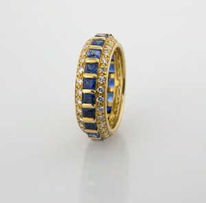 Eternity Band in 18KT Square Cut Sapphires and Round Diamonds
