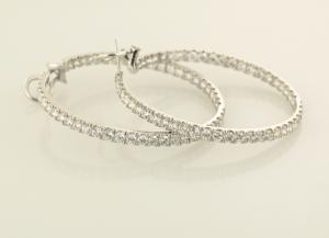 Diamond pavé inside outside hoop earrings