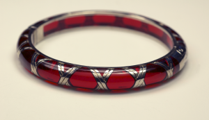 Red acylic and sterling silver bamboo motif bracelet