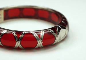 Sterling Silver and red Acrylic bamboo motif Braclet
